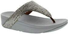 Fitflop Lottie Chain Print Silver Womens Sandals Toe-Thongs