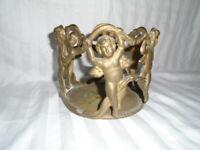 Vtg Art Nouveau Solid Brass Cherub Putti Boy Stand
