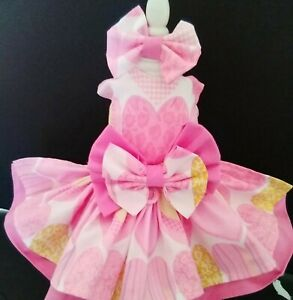 DOG Harnesses Dress PINK HEARTS  NEW FREE SHIPPING
