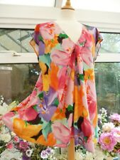 LAUREN RALPH LAUREN MULTI-COLOURED FLORAL LOOSE FLOATY OVERSIZE TUNIC TOP Sz L