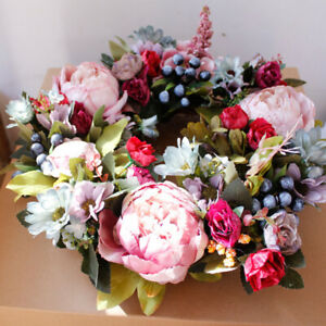 Fashion New Artificial Spring Flowers Wreath Garland Front Door Home Decoration