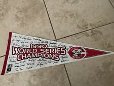 1990 Cincinnati Reds World Series Champions Pennant with Facsimile Autographs