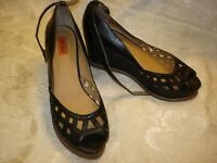 MIZ MOOZ Lavern Black Leather Wedge Shoes size 9