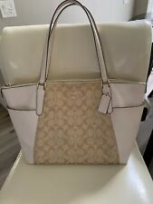 COACH signature leather  AVA II zipper Tote purse bag 37231 khaki Ivory
