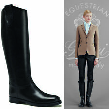 sz 36 39.5 NEW $1250 GUCCI Black Leather EQUESTRIAN LOGO Flat KNEE RIDING BOOTS