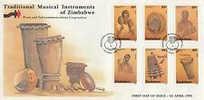 ZIMBABWE :1991 Musical Instruments set SG804-9 on illustrated First Day Cover