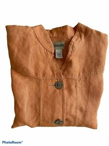 Chico's Linen Jacket Shirt Orange 3/4 Sleeve Button-Front Size 2 (Reg L) NWOT