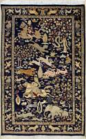 Rugstc 4x6 Senneh Pak Persian Blue Rug,Hand-Knotted,Pictorial Hunting,Silk/Wool