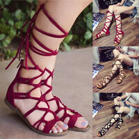 Womens Bohemia Lace Up Flat Knee High Boot Flip Flops Gladiator Sandals Shoes