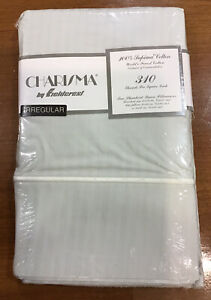 VTG CHARISMA FIELDCREST 310TC Irregular Std/Q PAIR Pillowcases 100% cotton NEW