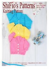 KNITTING PATTERN for BABY V NECK CARDIGAN 3 SIZES  #251 NOT CLOTHES