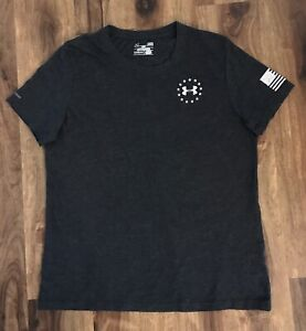 Under Armour Womens Gray  Loose Fit Wounded Warrior Project Shirt Sz L