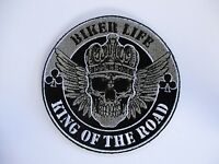 Biker Life - King of the Road - Skull Large Back Patch Sew/Iron Rider biker vest