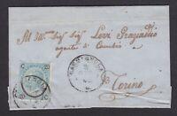 ITALIA REGNO 20c FER CAV su coperta  1865 CARMAGNOLA-TORINO +AMBULANTE FERROV.