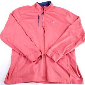Vineyard Vines Mens 1/4 Zip Pullover Size XL Long Sleeve Coral Performance Shirt