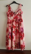 BNWOT H&M Pink & Red Floral Sleeveless Midi Dress Size EUR 36 / UK 8