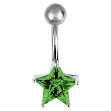 925 ECHT SILBER + TITAN *** Bananabell Bauchnabelpiercing Stern Zirkonia grün