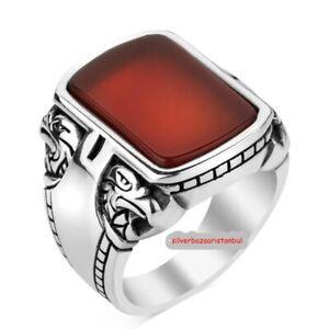 Turkish Mens Ring Red Carnelian yemeni Agate Aqeeq 925 sterling silver TR 02