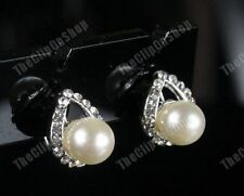 U CLIP ON PEARL&CRYSTAL diamante TEARDROP stud EARRINGS vintage style RHINESTONE