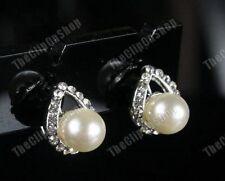 U CLIP ON PEARL&CRYSTAL diamante TEARDROP stud EARRINGS vintage style RHINESTONE