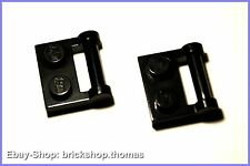 Lego 2 x Platten (1 x 2) schwarz mit Griff  - 48336 - black - NEU / NEW