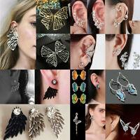 Women Korean Angel Wings&Butterfly Ear Stud Crystal Rhinestone Earrings Jewelry
