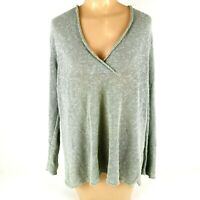Eileen Fisher Women's Linen Blend Long Sleeve Blouse Gray Knit Size Medium M EUC