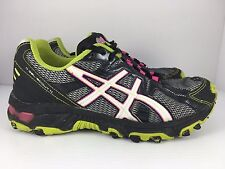 ASICS Gel Scout Women US 6 Black White + Green Athletic Trail Running Shoes J33