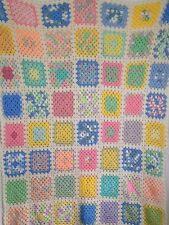 """Granny Square Pastels White Crocheted Afghan Blanket Handmade 76"""" x 52"""""""