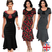 Womens Cocktail Vintage Dresses Swing Party1950s 40s Dress Rockabilly Fishtail