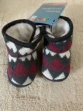Nwt Unisex Baby Lupilu Fabric Soft Slippers Booties Size 3-4 Gray