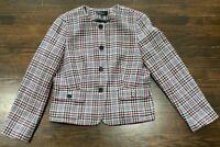 Talbots Multicolor Houdstooth Plaid Blazer Jacket Women's Sz 14 Wool Blend Lined