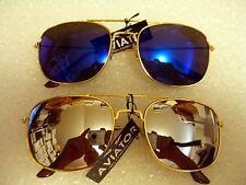 68124e9e0a1ef 2 Par de Piloto Aviador Gafas de Sol Azul Espejo Y Espejo De Plata Con  Marco Dorado