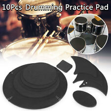 10xBass Snare Drums Mute Silencer Drumming Practice Pad Set Soundoff/Quiet Black
