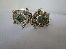 Vintage Turtle Cuff Bracelet Goldtone Crushed Jade Hinged Rare Size 6.5