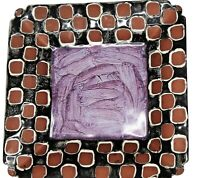 "MacKenzie Childs 9.5""  Square Plate Purple Center"