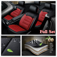 Full Set PU Leather Car 5-seat Front & Rear Leather Seat Cover Protect Black/Red