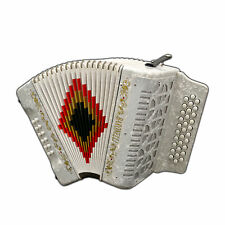 Baronelli 31 Button, 12 Bass Accordion, FBE, With Straps And Case, White