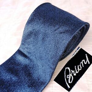 NWOT BRIONI Hand Made Italy Silk CASHMERE Tie Shimmery Iridescent Solid Blue XL