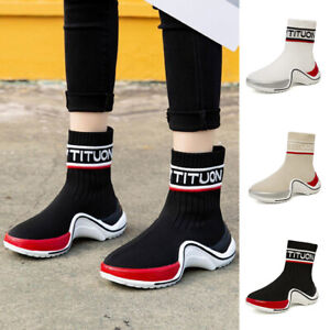 Women High Top Sock Sneakers Trainers Outdoor Athletic Running Gym Casual Shoes