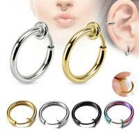 1 Pair Women Men Fake Nose Ring Punk Lip Ear Clip On Piercing Body Jewelry Gift
