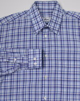 * BRIONI * Recent Blue/White Checkered Cotton Dress-Casual Shirt~ Medium