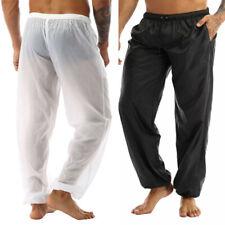 Men's Ultra-Thin See Through Beach Long Pants Summer Drawstring Loose Trouser