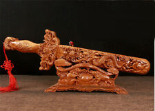 "16"" Collect China Art Deco Peach Wood Carved Dragon Pattern Sword Dagger Statue"