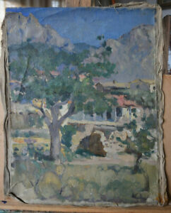 Antique 1948 Russian  USSR oil Canvas   GusevYur 28+ Crimea