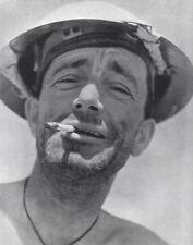 WWII B&W Photo British Eighth Army Soldier Tobruk Desert Rats  WW2 / 1107