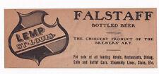 1907 Lemp Brewing Co, St Louis, Missouri Falstaff Bottled Beer Advertisement