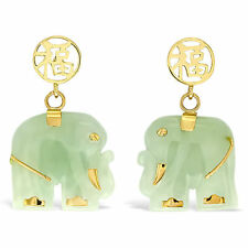 Womens 14K Designer Solid Gold and Jade Gemstone Elephant Earrings