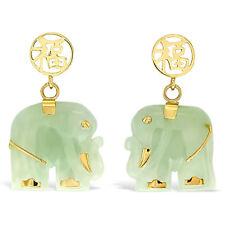 Womens 14K Designer Solid Gold and Jade Gemstone Elephant Earrings