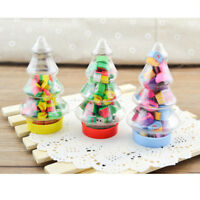 1 Box Colorful Christmas Erasers Xmas Tree Stationery Kids Gift Stocking Fillers